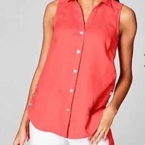 J. Jill Linen Side-Button Sleeveless Shirt 🌿
